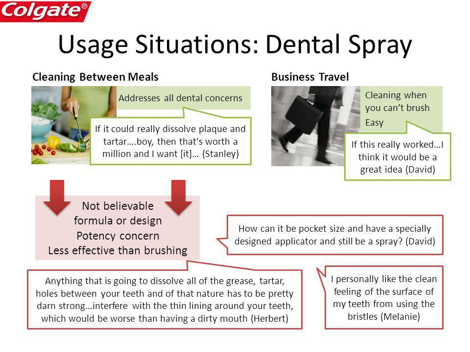 Addresses all dental concerns Usage Situations: Dental Spray Cleaning when you cant brush Easy Cleaning Between Meals Not believable formula or design