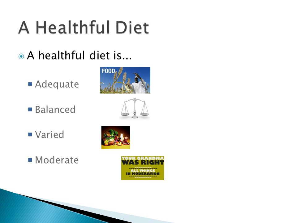 A healthful diet is... Adequate Balanced Varied Moderate