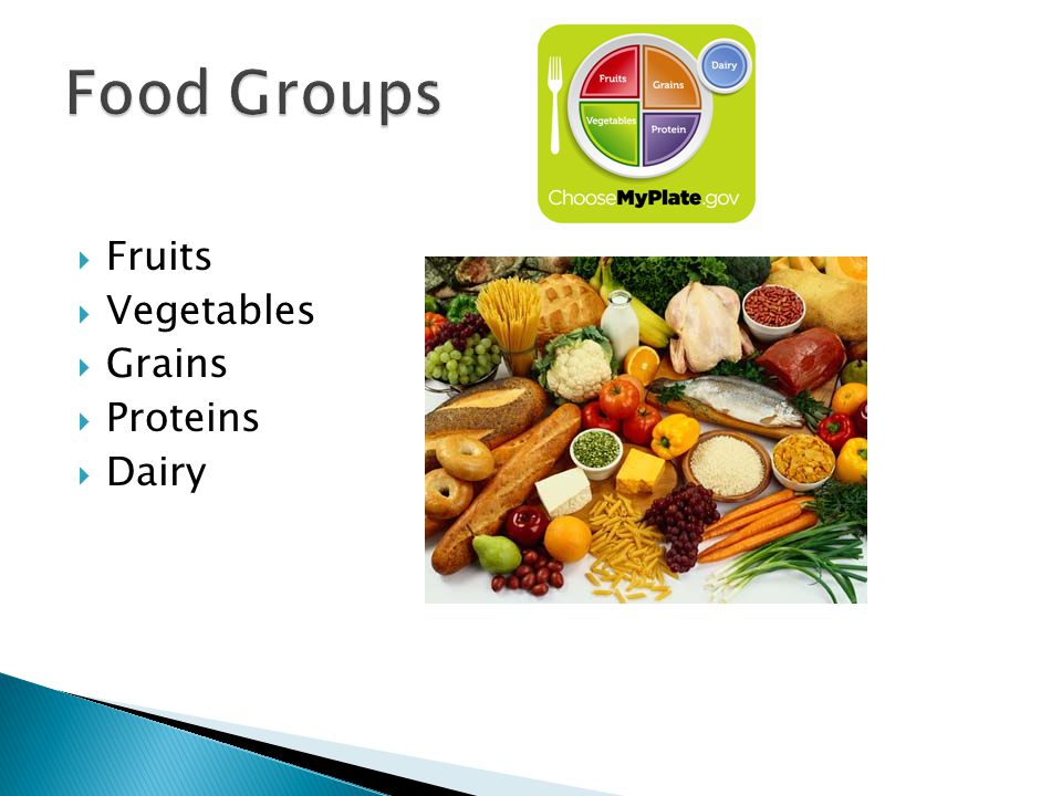 Fruits Vegetables Grains Proteins Dairy