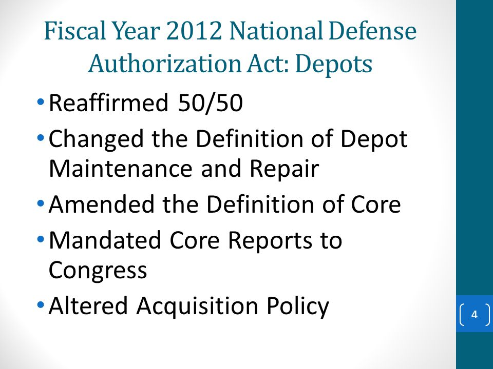 NDAA FY 12: Depots – Core 10 USC 2464 NEW Continued 15