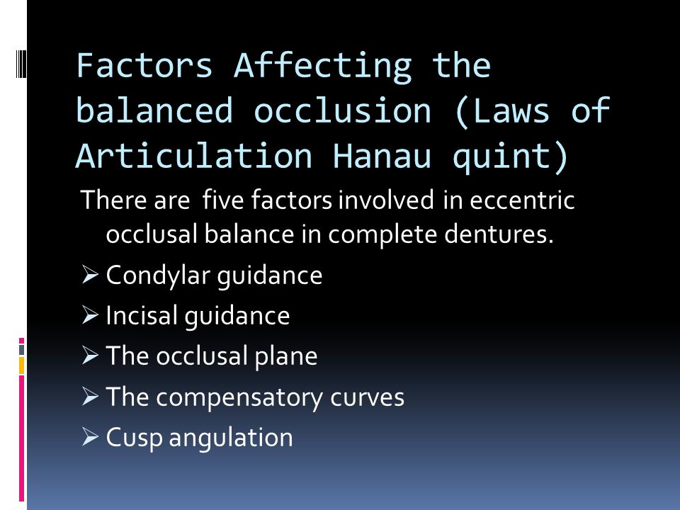 Factors Affecting the balanced occlusion (Laws of Articulation Hanau quint) There are five factors involved in eccentric occlusal balance in complete dentures.