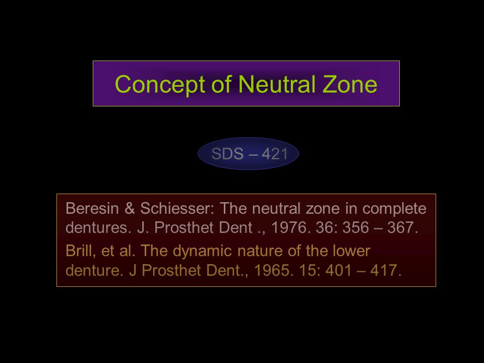 Concept of Neutral Zone SDS – 421 Beresin & Schiesser: The neutral zone in complete dentures. J. Prosthet Dent., 1976. 36: 356 – 367. Brill, et al. Th
