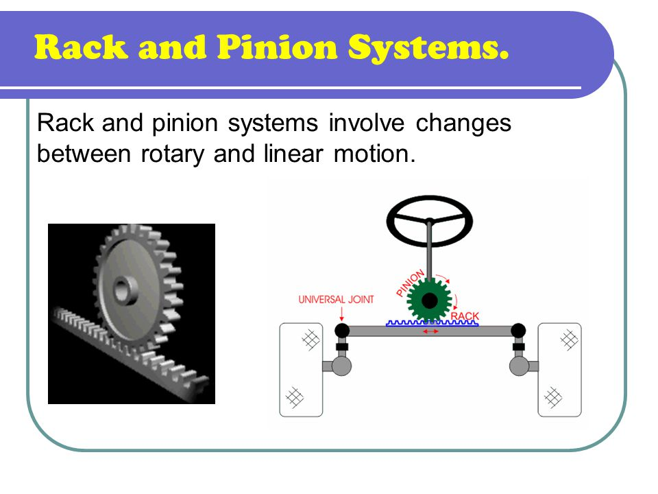 Rack and Pinion Systems. Rack and pinion systems involve changes between rotary and linear motion.