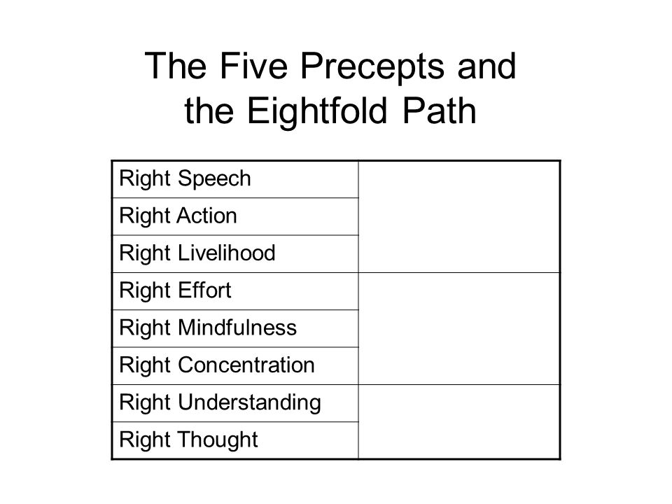 The Five Precepts and the Eightfold Path Right Speech Morality – The Foundation of Everything Right Action Right Livelihood Right Effort Mental Development Right Mindfulness Right Concentration Right Understanding Wisdom Right Thought