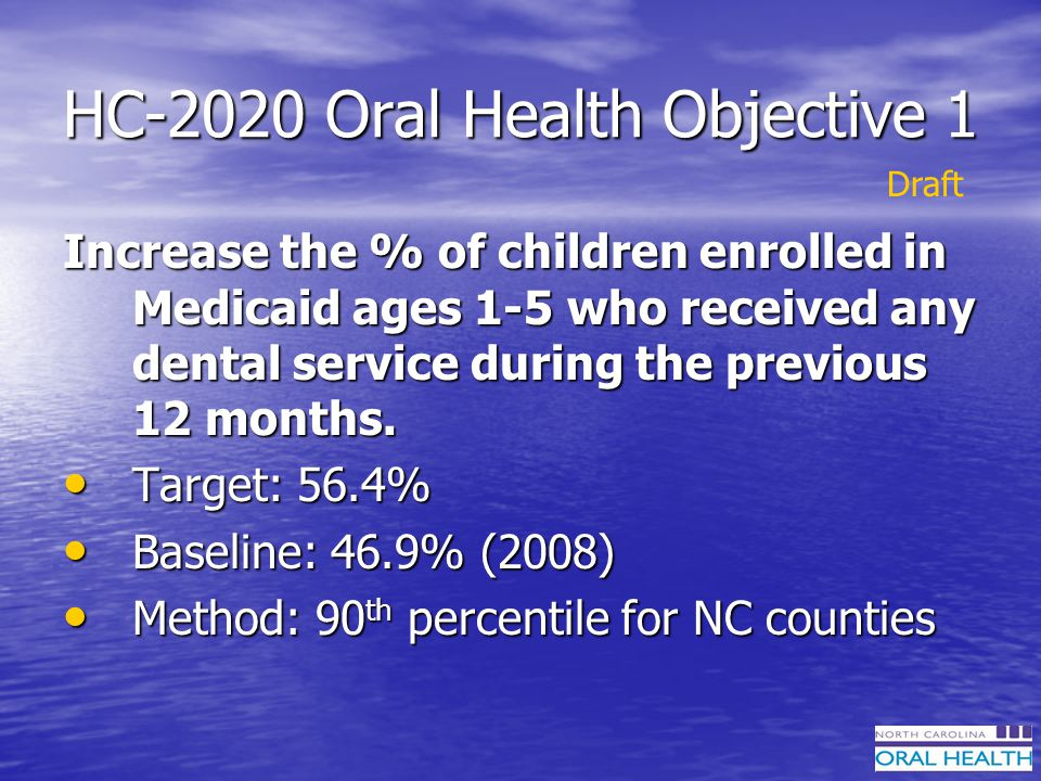 HC-2020 Oral Health Objective 1 Increase the % of children enrolled in Medicaid ages 1-5 who received any dental service during the previous 12 months.