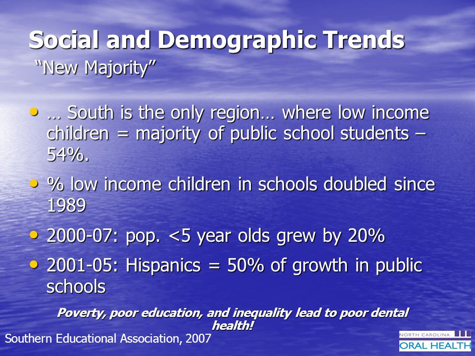 Social and Demographic Trends New Majority … South is the only region… where low income children = majority of public school students – 54%.