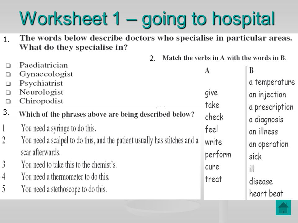 Worksheet 1 – going to hospital 1. 2. 3.
