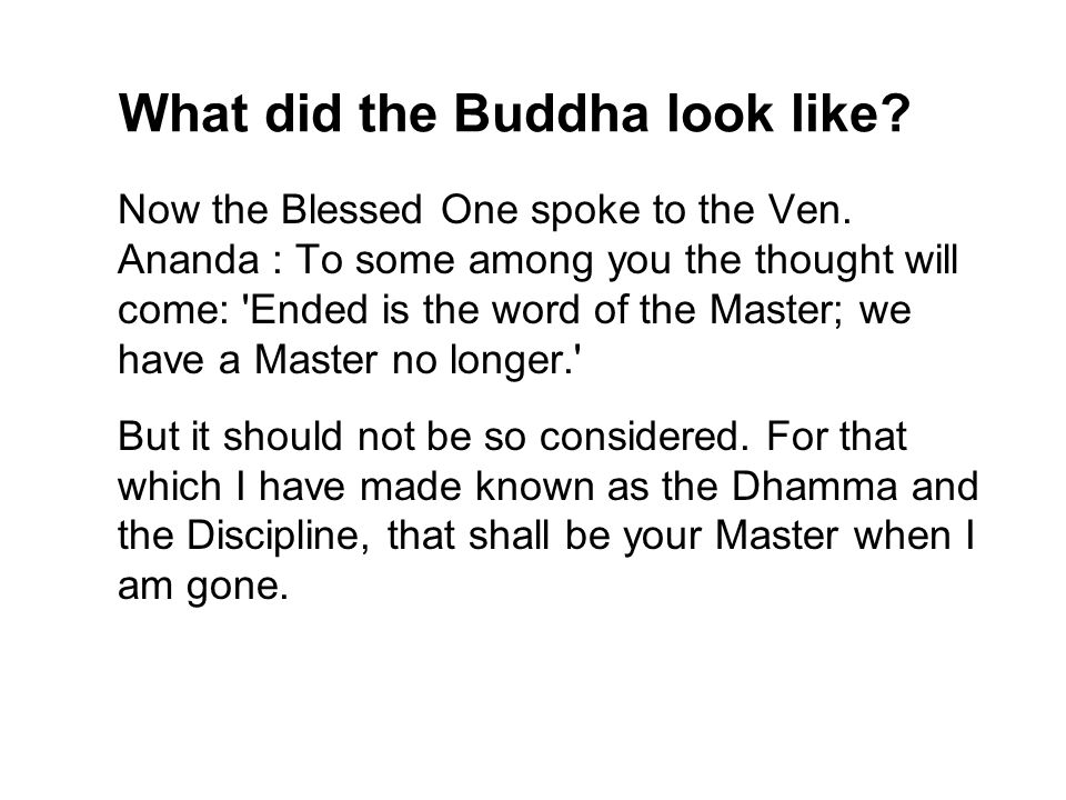 What did the Buddha look like. Now the Blessed One spoke to the Ven.