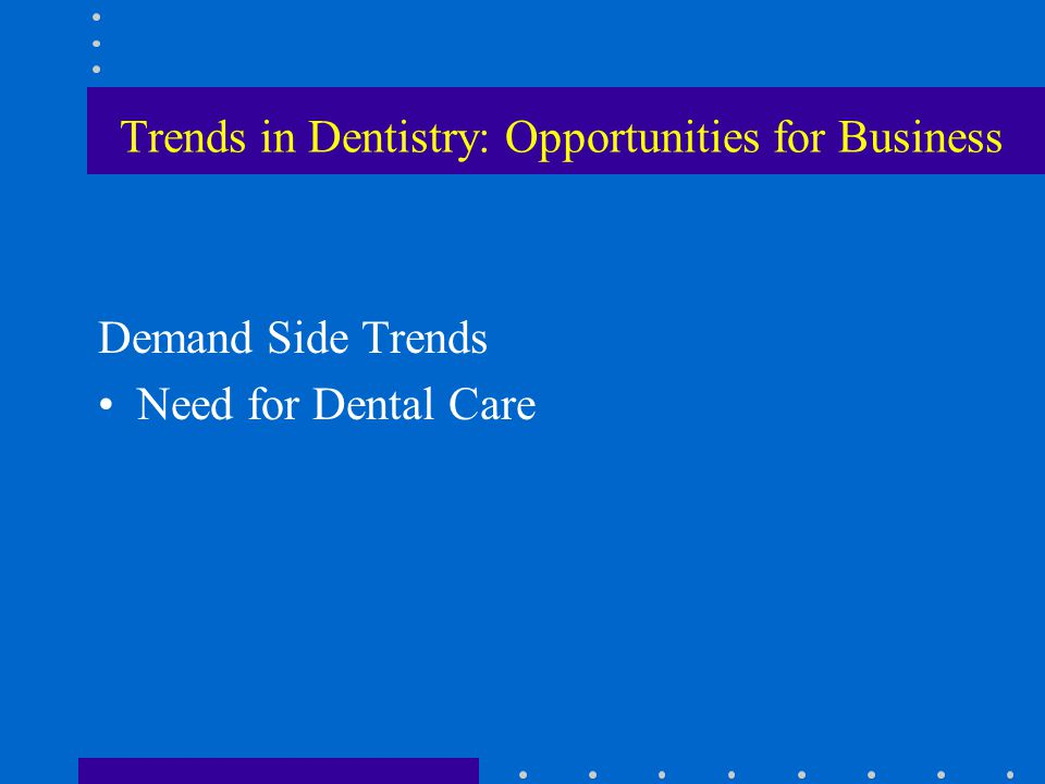 Trends in Dentistry: Opportunities for Business Demand Side Trends Need for Dental Care