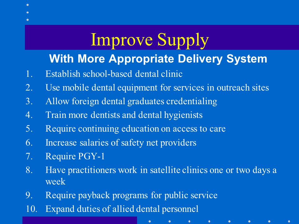 Improve Supply With More Appropriate Delivery System 1.Establish school-based dental clinic 2.Use mobile dental equipment for services in outreach sites 3.Allow foreign dental graduates credentialing 4.Train more dentists and dental hygienists 5.Require continuing education on access to care 6.Increase salaries of safety net providers 7.Require PGY-1 8.Have practitioners work in satellite clinics one or two days a week 9.Require payback programs for public service 10.Expand duties of allied dental personnel