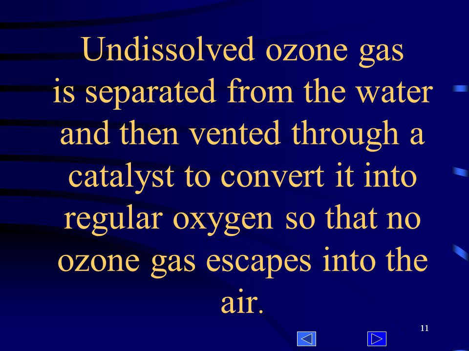 10 Ozone is dissolved in the irrigation water by breaking up the gas into tiny bubbles and mixing the bubbles with water.