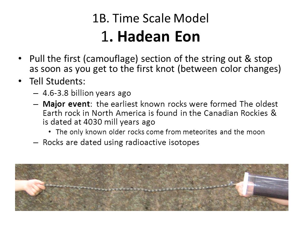1B. Time Scale Model 1. Hadean Eon Pull the first (camouflage) section of the string out & stop as soon as you get to the first knot (between color ch
