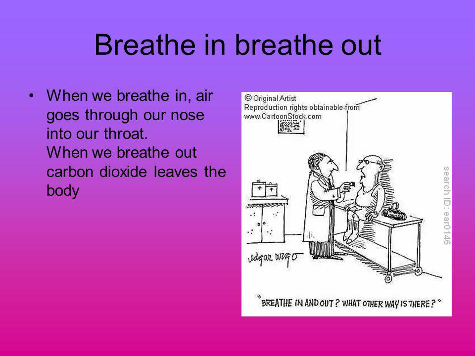 Breathe in breathe out When we breathe in, air goes through our nose into our throat. When we breathe out carbon dioxide leaves the body
