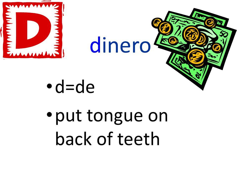 dinero d=de put tongue on back of teeth