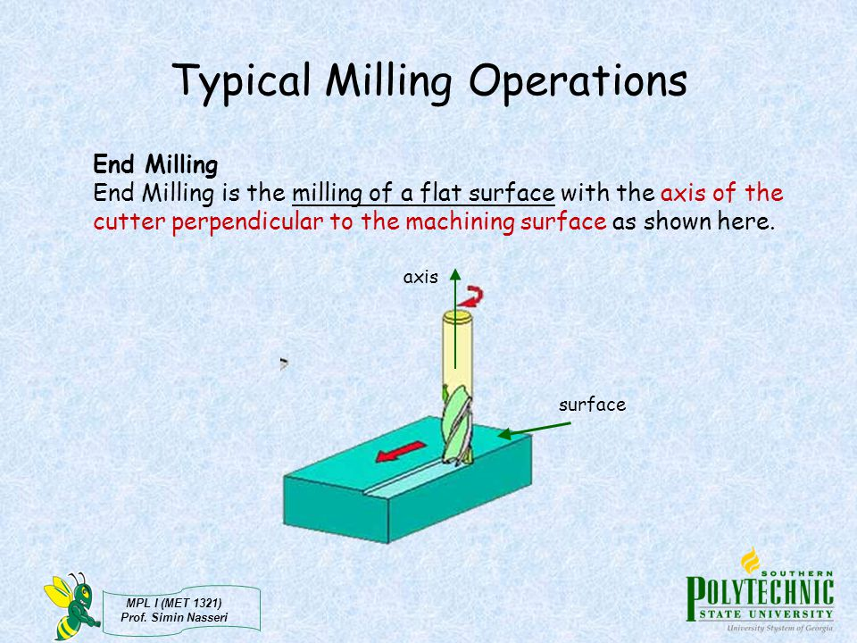 MPL I (MET 1321) Prof. Simin Nasseri Typical Milling Operations End Milling End Milling is the milling of a flat surface with the axis of the cutter p