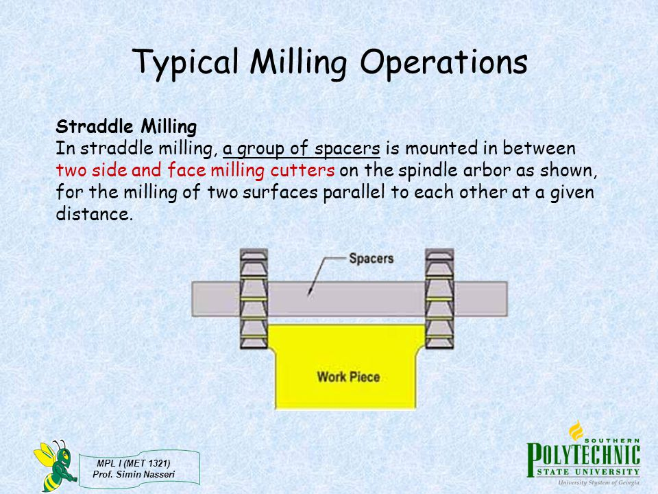 MPL I (MET 1321) Prof. Simin Nasseri Typical Milling Operations Straddle Milling In straddle milling, a group of spacers is mounted in between two sid