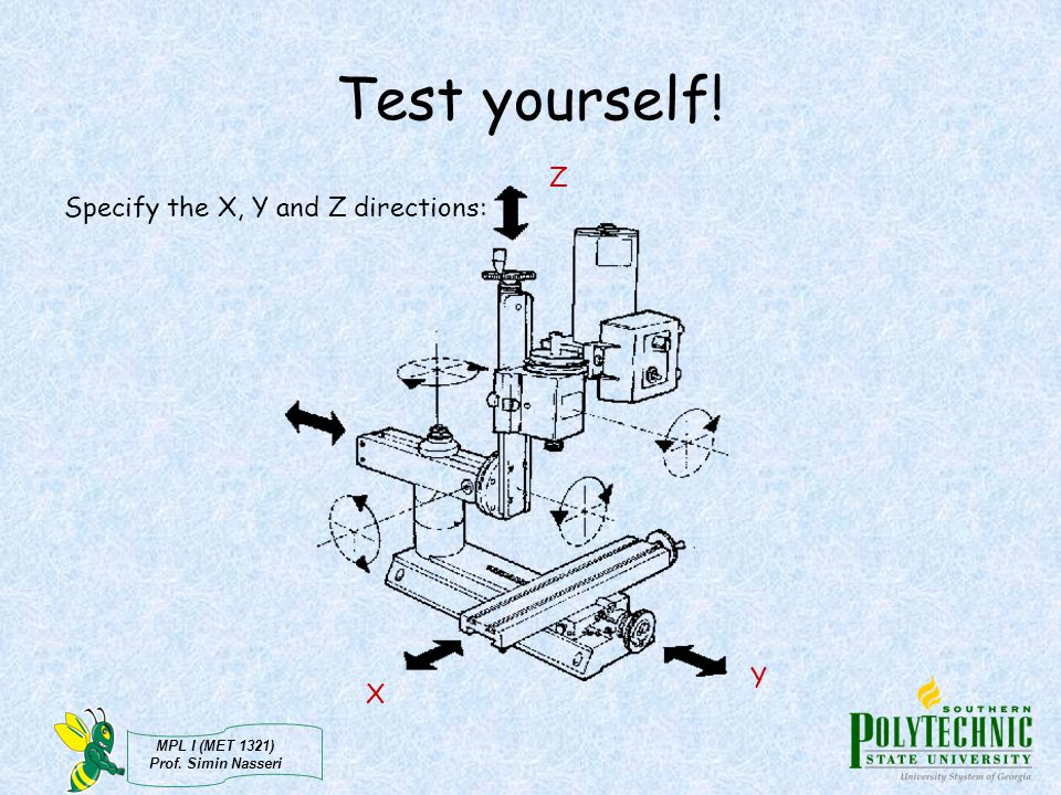 MPL I (MET 1321) Prof. Simin Nasseri Test yourself! Specify the X, Y and Z directions: X Y Z