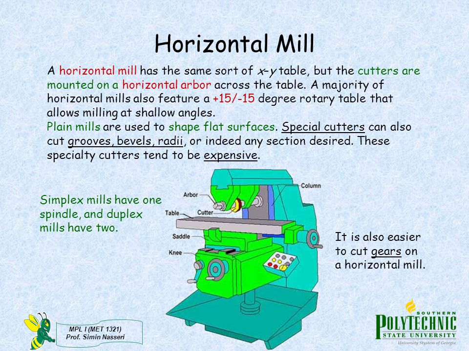 MPL I (MET 1321) Prof. Simin Nasseri Horizontal Mill A horizontal mill has the same sort of x–y table, but the cutters are mounted on a horizontal arb