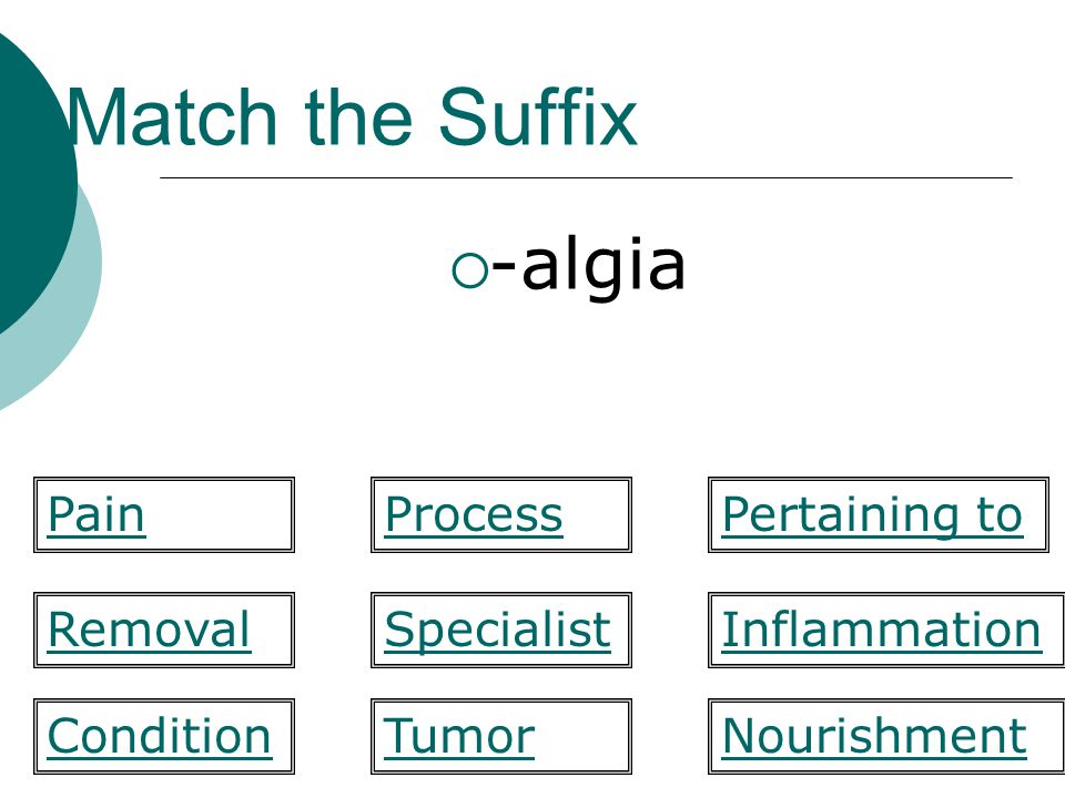 Match the Suffix -trophy Specialist Pertaining to RemovalInflammation NourishmentCondition PainProcess Tumor