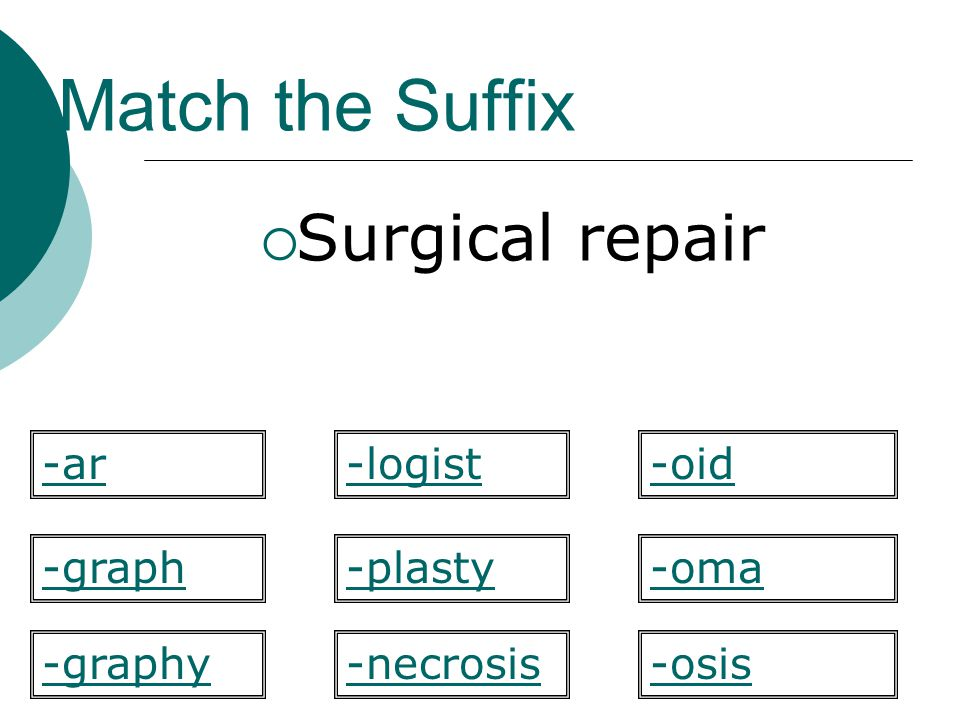 Match the Suffix Surgical repair -plasty -oid -graph-oma -osis-graphy -ar-logist -necrosis