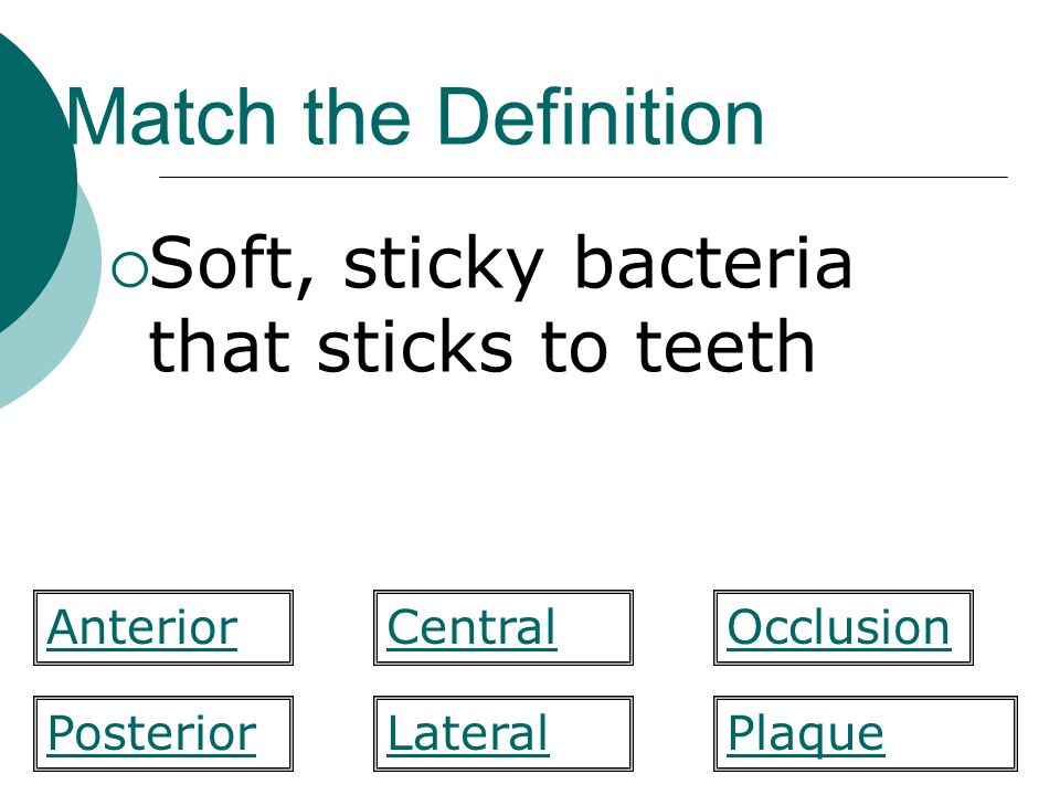Match the Definition Soft, sticky bacteria that sticks to teeth CentralAnteriorOcclusion PlaquePosteriorLateral