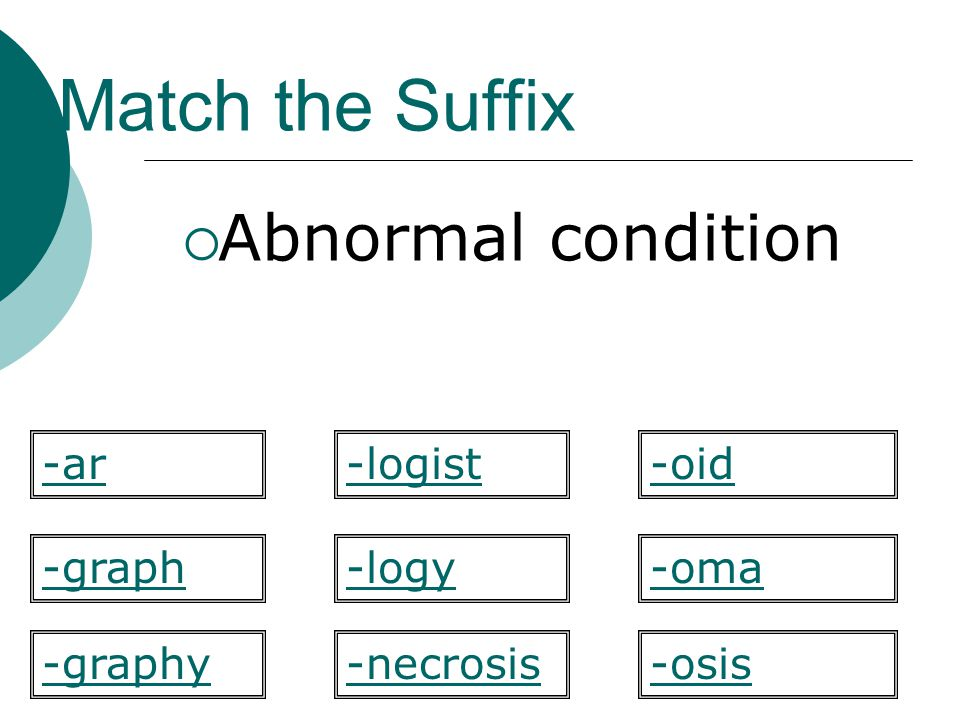 Match the Suffix Abnormal condition -logy -oid -graph-oma -osis-graphy -ar-logist -necrosis
