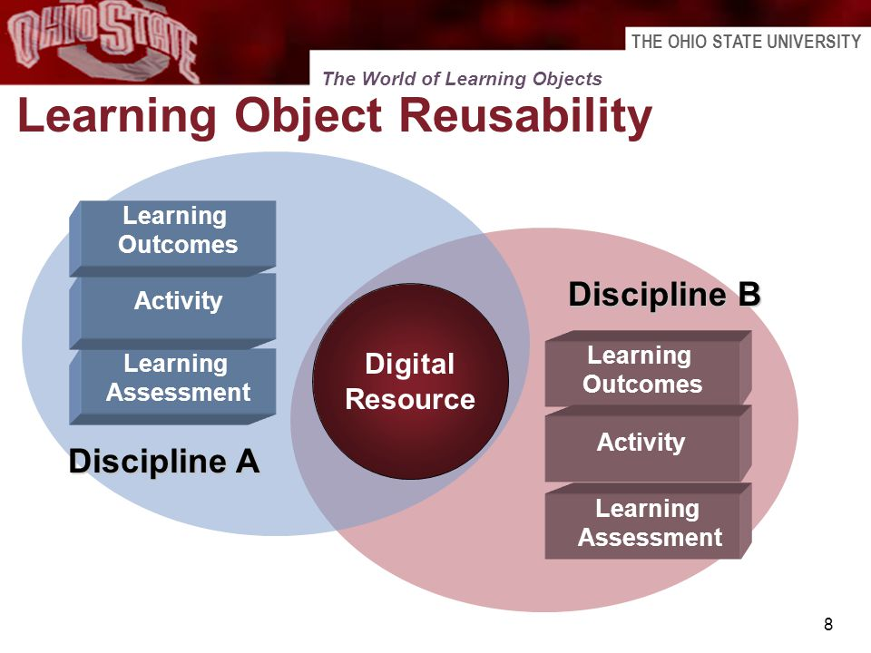 THE OHIO STATE UNIVERSITY 8 Learning Object Reusability Digital Resource Learning Assessment Learning Outcomes Learning Assessment Discipline A Discip