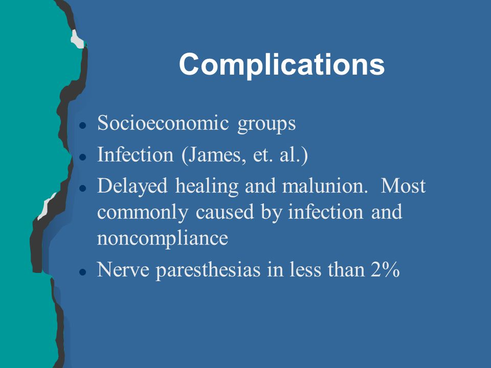 Complications l Socioeconomic groups l Infection (James, et. al.) l Delayed healing and malunion. Most commonly caused by infection and noncompliance