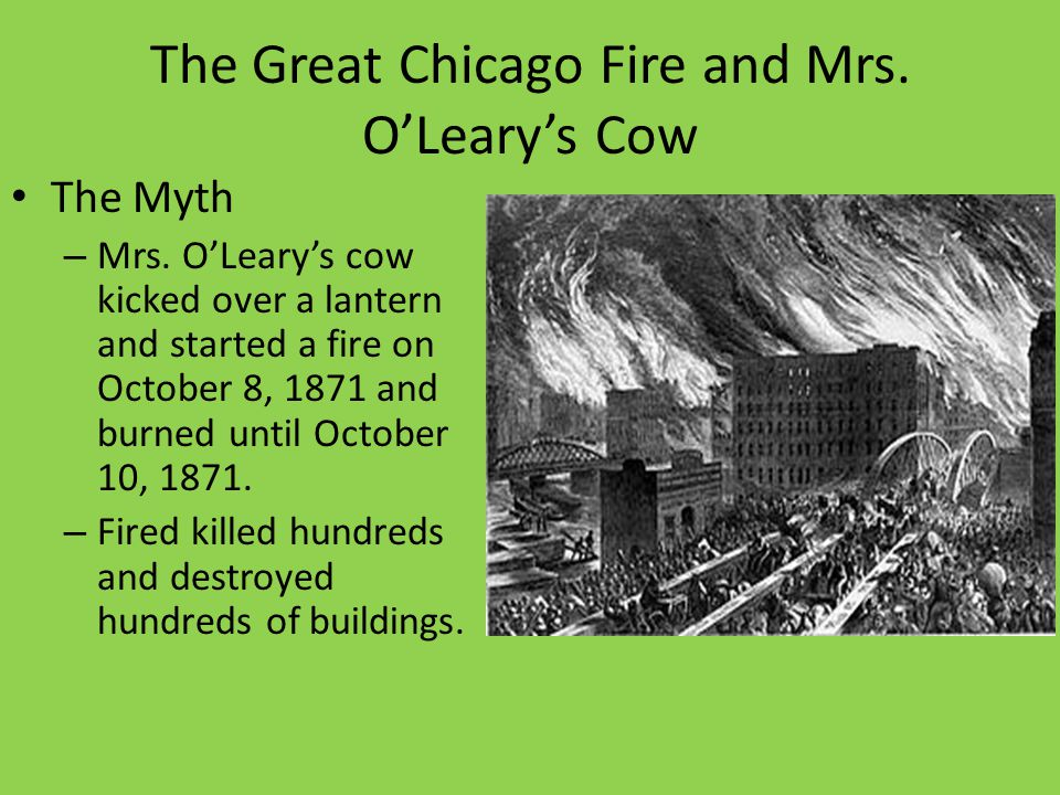 The Great Chicago Fire and Mrs. OLearys Cow The Myth – Mrs. OLearys cow kicked over a lantern and started a fire on October 8, 1871 and burned until O