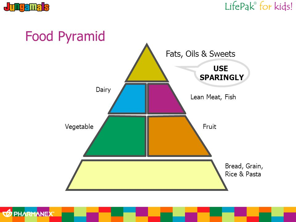 Food Pyramid Fats, Oils & Sweets USE SPARINGLY Lean Meat, Fish Fruit Bread, Grain, Rice & Pasta Dairy Vegetable