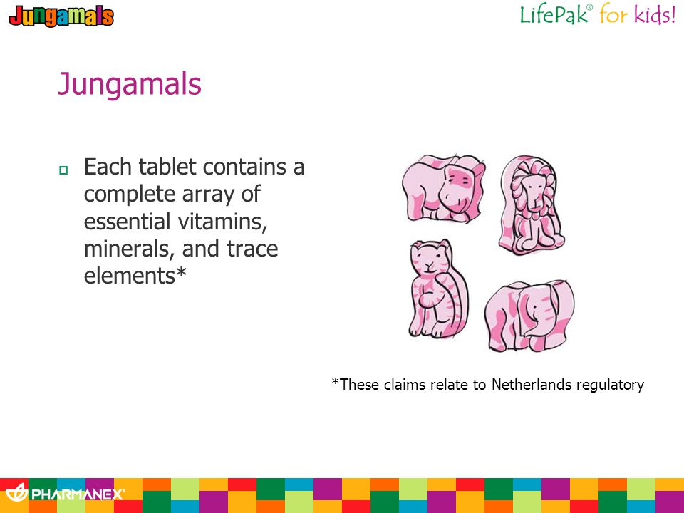 Each tablet contains a complete array of essential vitamins, minerals, and trace elements* *These claims relate to Netherlands regulatory