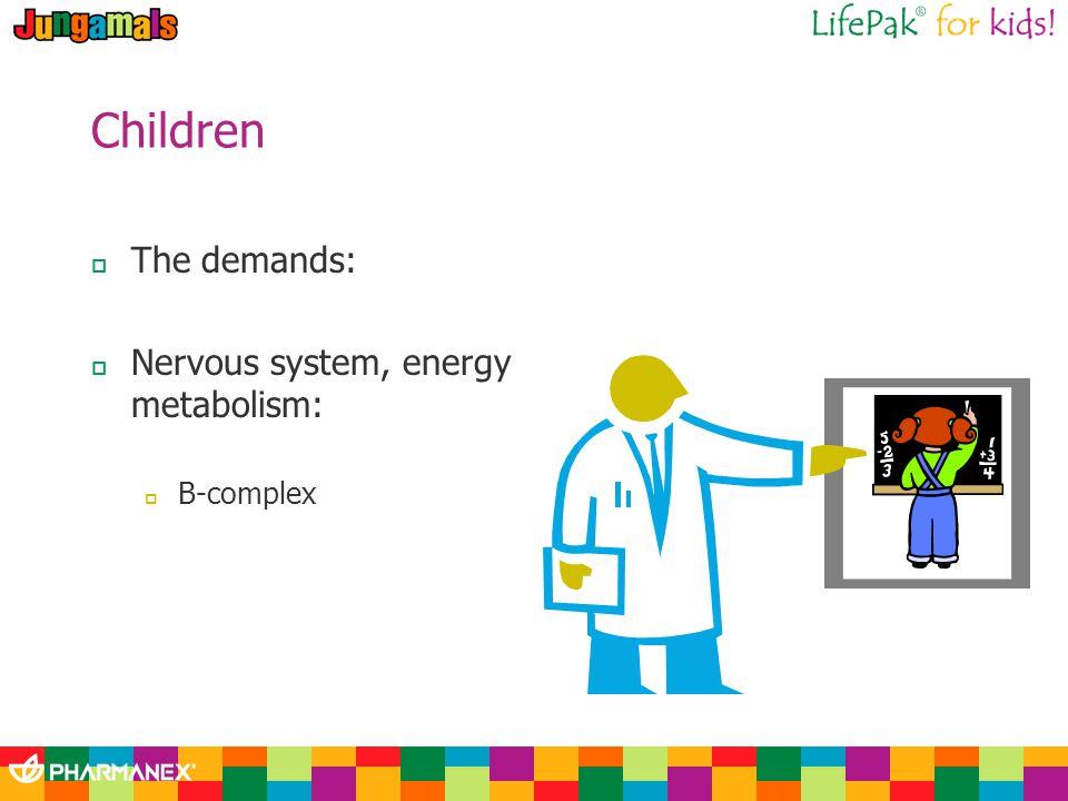 Children The demands: Nervous system, energy metabolism: B-complex