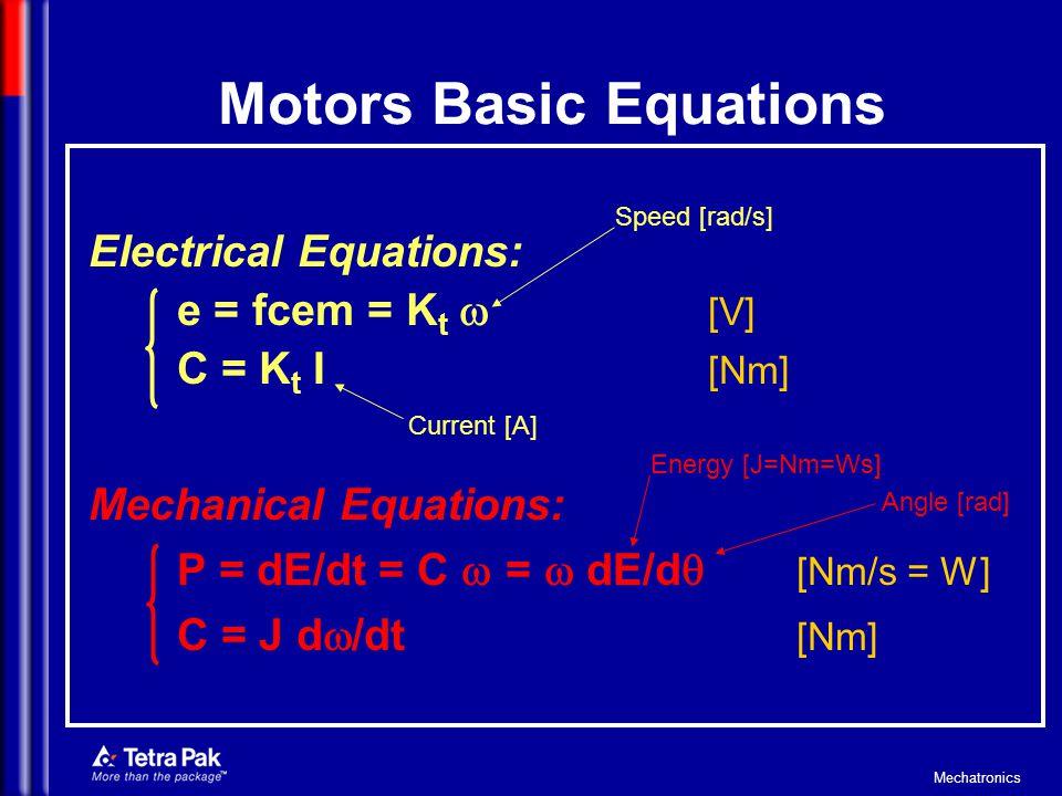 Mechatronics Field-weakening (Deflussaggio) Increasing velocity the DC bus limit is reached (e = fcem = K t ).