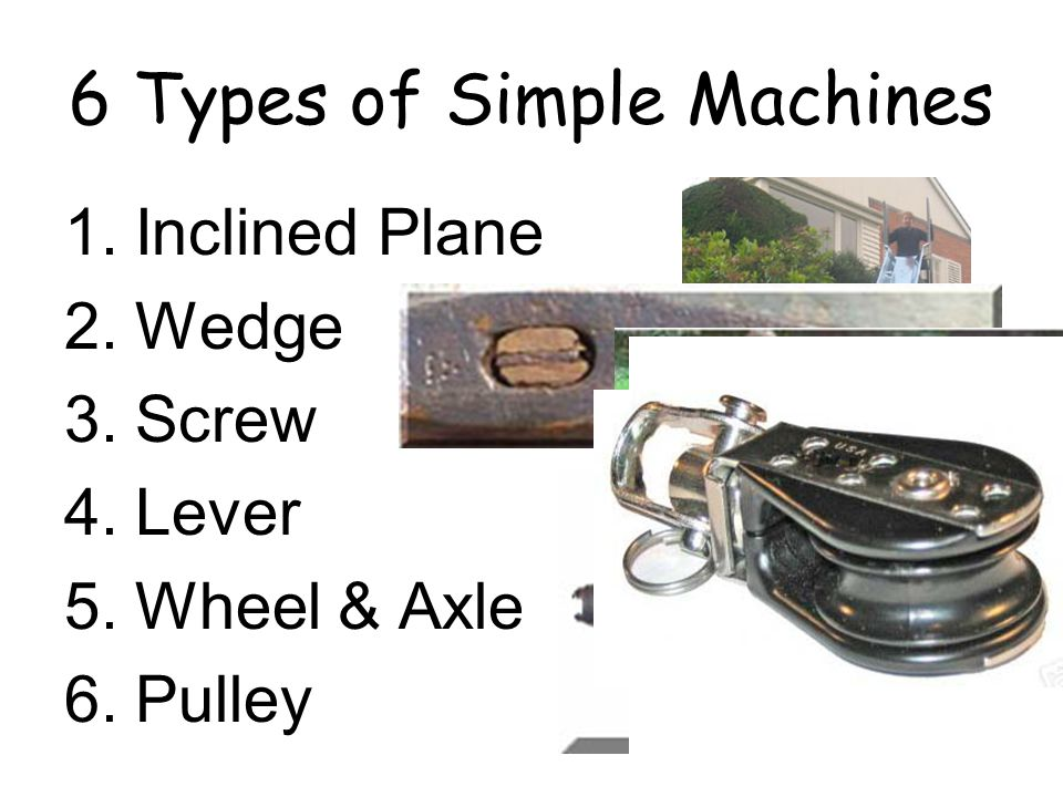 6 Types of Simple Machines 1.Inclined Plane 2.Wedge 3.Screw 4.Lever 5.Wheel & Axle 6.Pulley