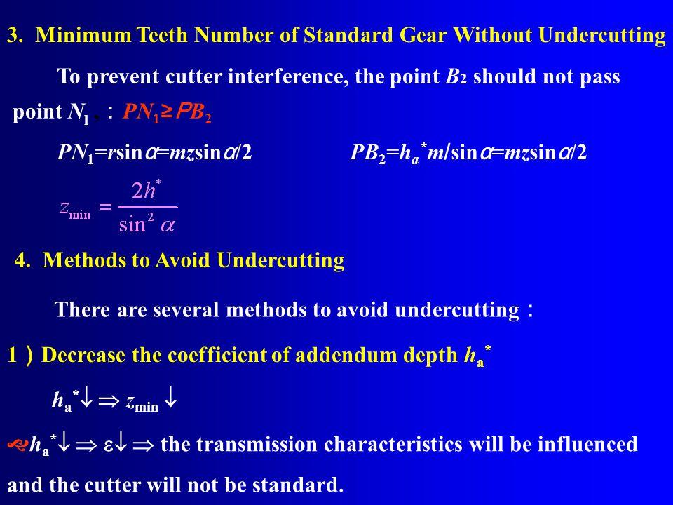 c*m Reference line r b N 1 P α rbrb r rara N1N1 O1O1 O 1 Reference circle Gear blank ha*mha*m B1B1 B2B2 v N 1 r b Involute 2. Cutting a Standard Gear