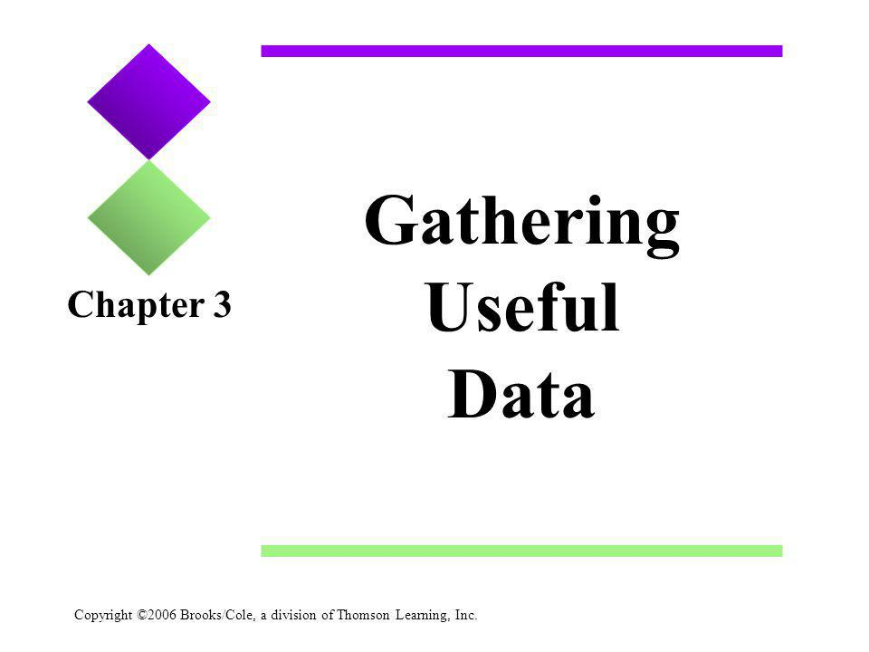 Copyright ©2006 Brooks/Cole, a division of Thomson Learning, Inc. Gathering Useful Data Chapter 3
