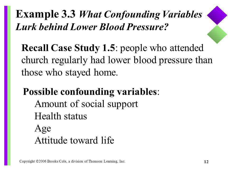 Copyright ©2006 Brooks/Cole, a division of Thomson Learning, Inc. 12 Example 3.3 What Confounding Variables Lurk behind Lower Blood Pressure? Recall C