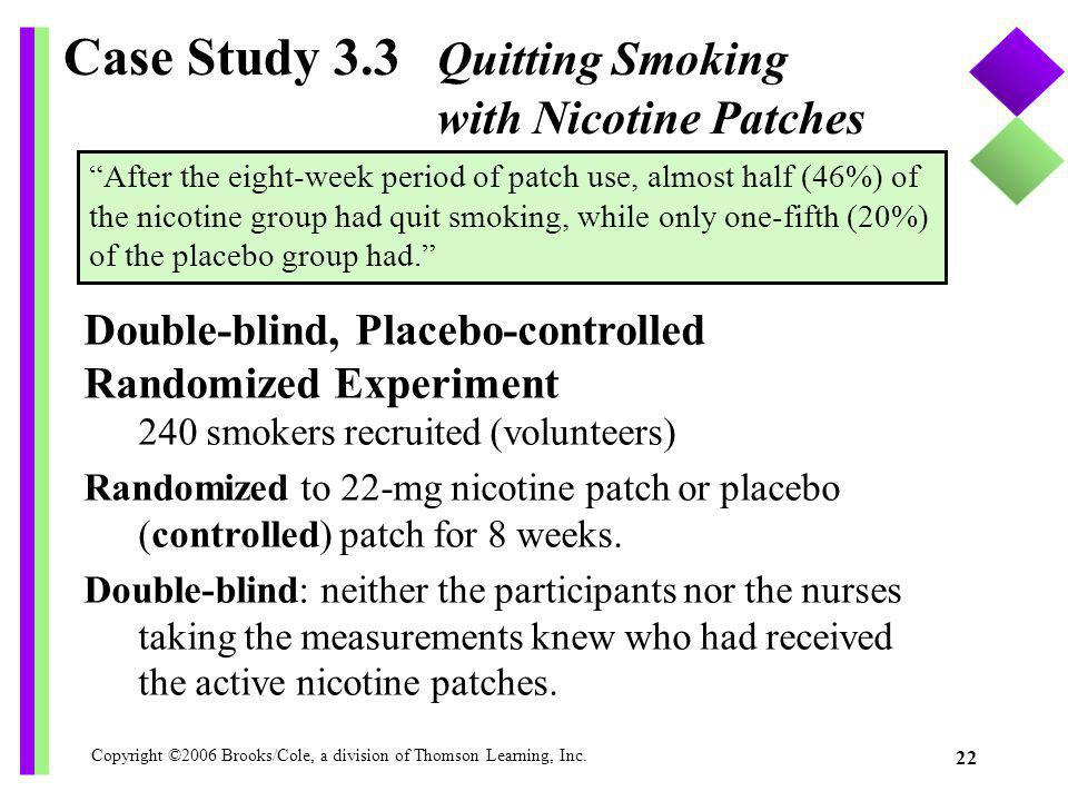 Copyright ©2006 Brooks/Cole, a division of Thomson Learning, Inc. 22 Case Study 3.3 Quitting Smoking with Nicotine Patches Double-blind, Placebo-contr