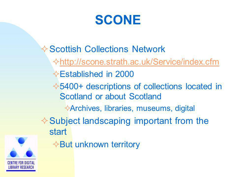 Use of DDC in HILT Subject term input by user Corresponding DDC number(s) identified User presented with verbal hierarchies and asked to select one (disambiguate) Collection-level descriptions give subject scheme used in item finding-aid (catalogue) LCSH, MESH, Unesco, AAT, etc.