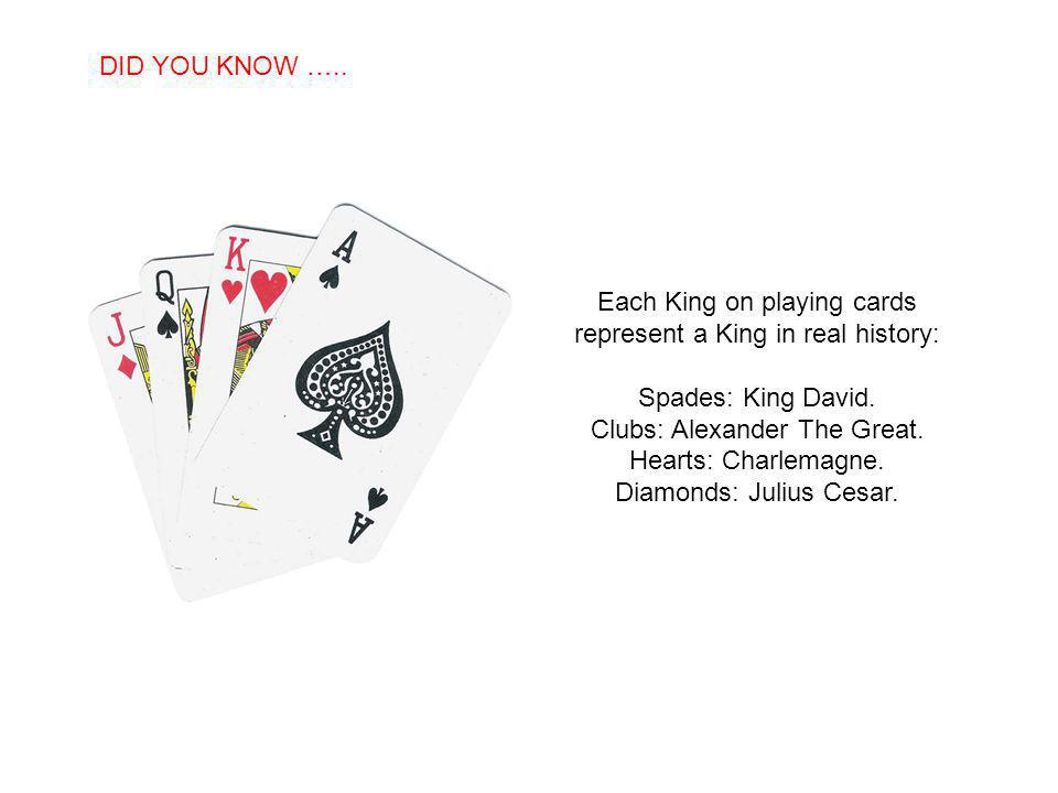 SABIAS QUE… Each King on playing cards represent a King in real history: Spades: King David.