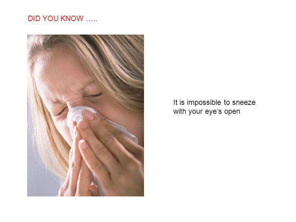 SABIAS QUE… It is impossible to sneeze with your eyes open DID YOU KNOW …..