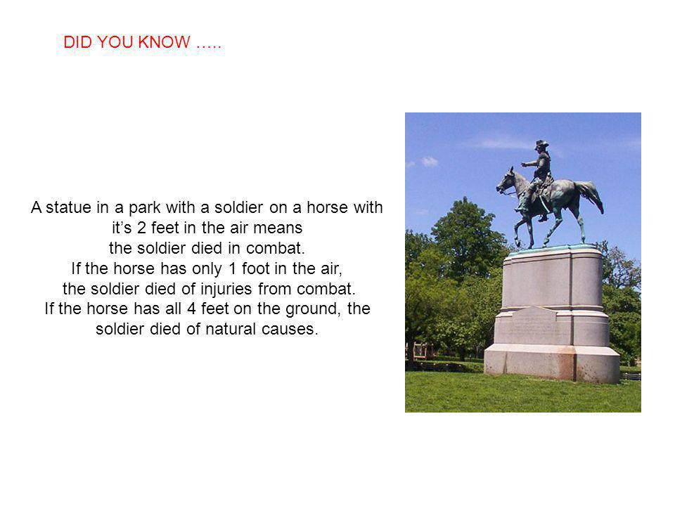 SABIAS QUE… A statue in a park with a soldier on a horse with its 2 feet in the air means the soldier died in combat.