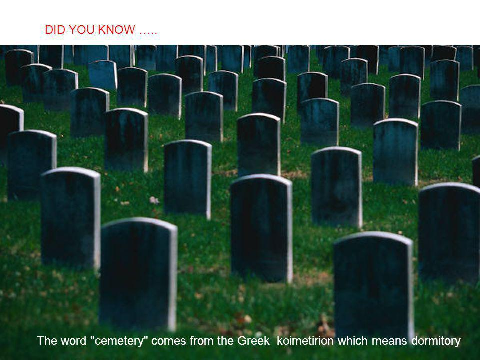 SABIAS QUE… The word cemetery comes from the Greek koimetirion which means dormitory DID YOU KNOW …..