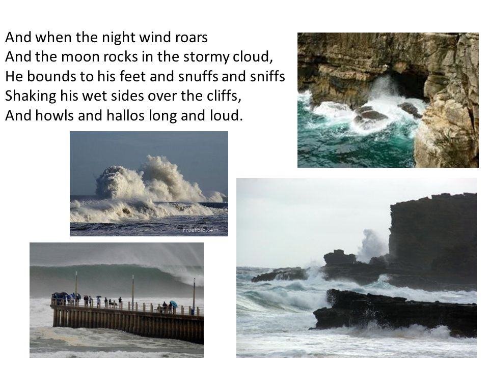 And when the night wind roars And the moon rocks in the stormy cloud, He bounds to his feet and snuffs and sniffs Shaking his wet sides over the cliff