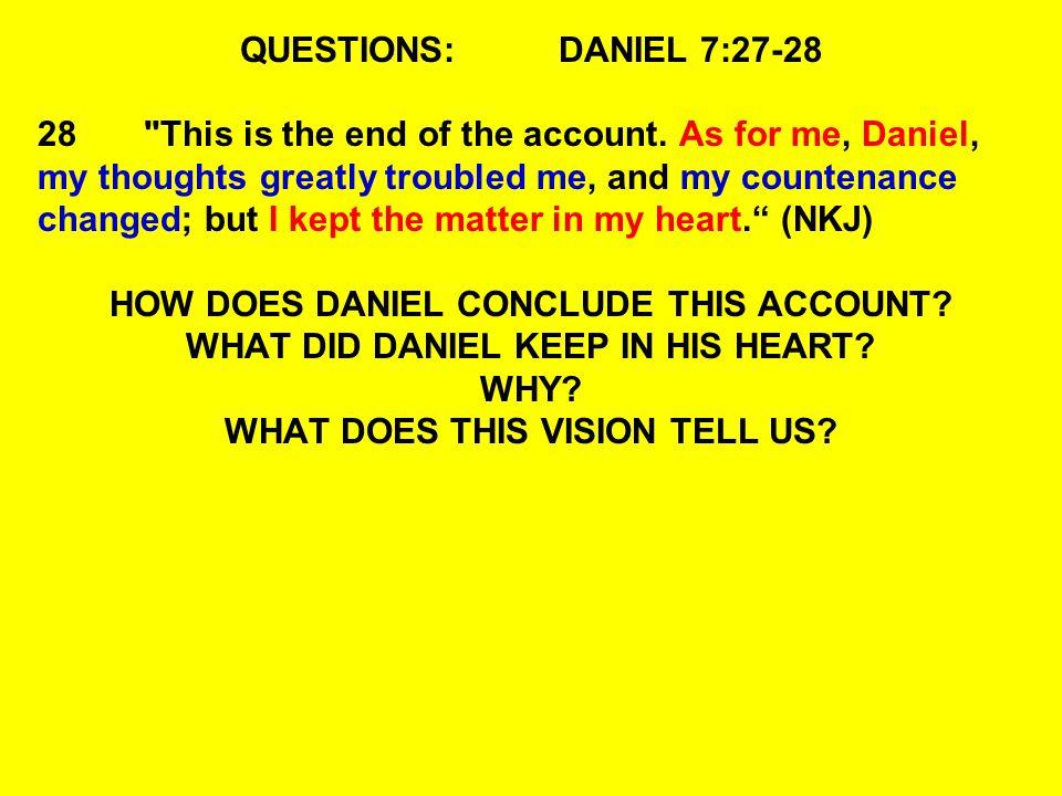 QUESTIONS:DANIEL 7:27-28 28
