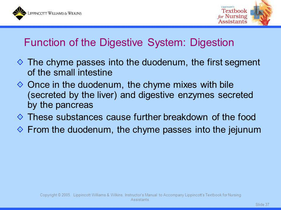Slide 37 Copyright © 2005. Lippincott Williams & Wilkins. Instructor's Manual to Accompany Lippincott's Textbook for Nursing Assistants. The chyme pas