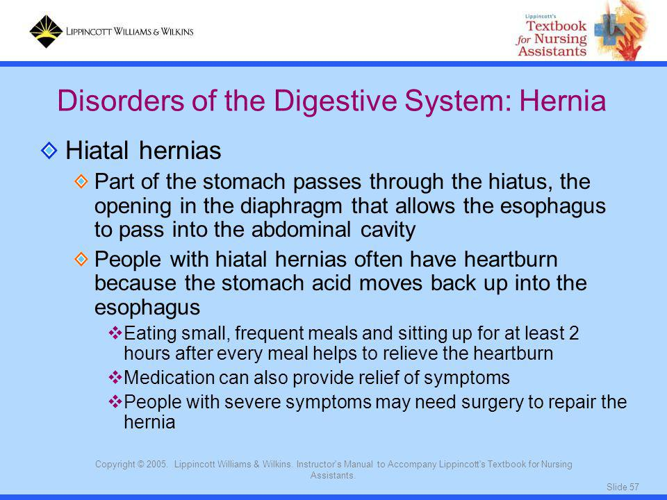 Slide 57 Copyright © 2005. Lippincott Williams & Wilkins. Instructor's Manual to Accompany Lippincott's Textbook for Nursing Assistants. Hiatal hernia