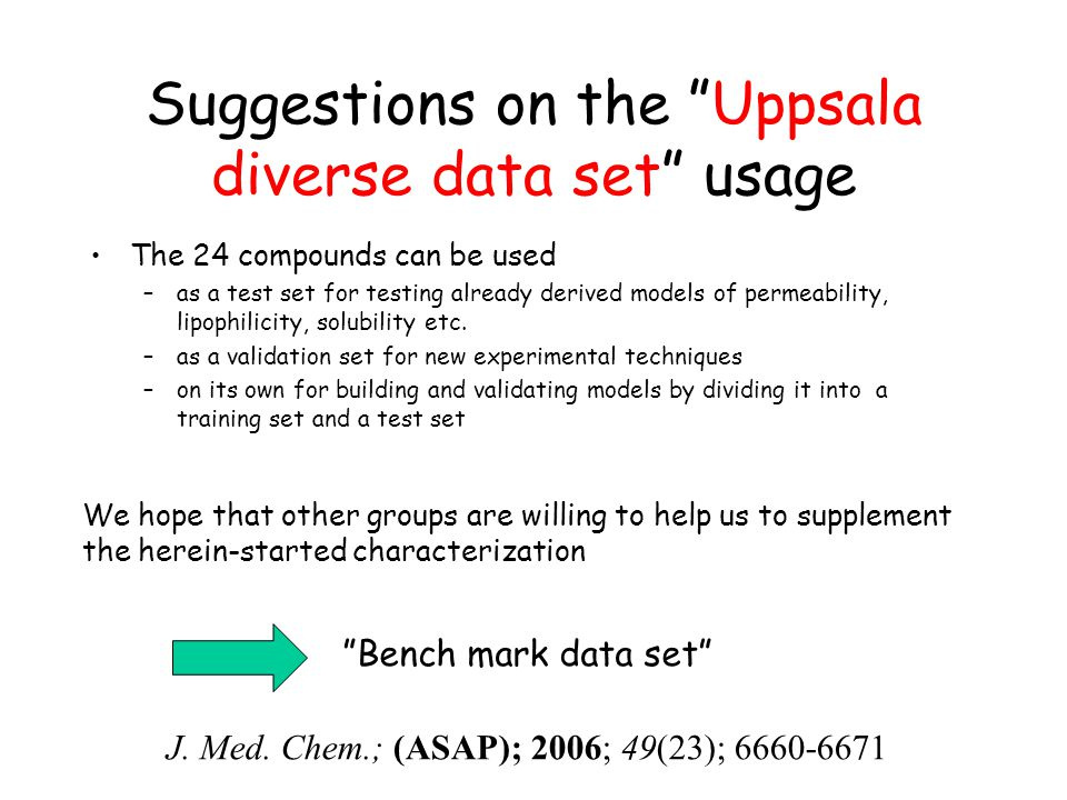Suggestions on the Uppsala diverse data set usage The 24 compounds can be used –as a test set for testing already derived models of permeability, lipophilicity, solubility etc.