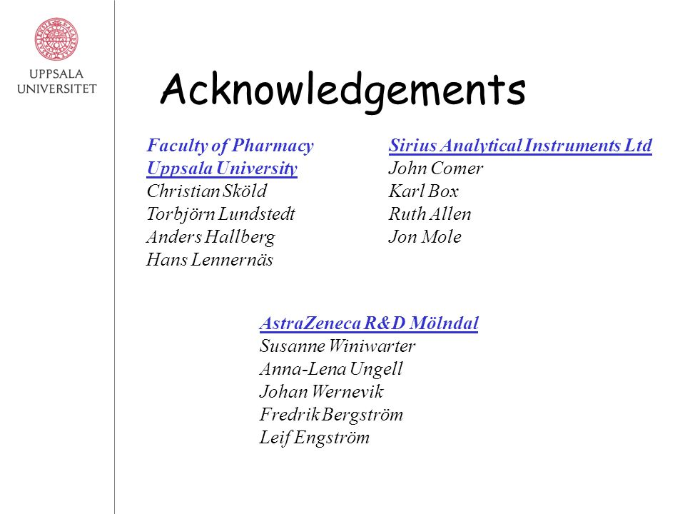 Acknowledgements AstraZeneca R&D Mölndal Susanne Winiwarter Anna-Lena Ungell Johan Wernevik Fredrik Bergström Leif Engström Sirius Analytical Instruments Ltd John Comer Karl Box Ruth Allen Jon Mole Faculty of Pharmacy Uppsala University Christian Sköld Torbjörn Lundstedt Anders Hallberg Hans Lennernäs