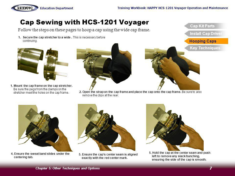 Training Workbook: HAPPY HCS-1201 Voyager Operation and Maintenance Education Department Chapter 5: Other Techniques and Options 7 Cap Sewing with HCS